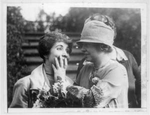 Helen Keller (right) reads the lips of First Lady Grace Coolidge in 1926. Her husband, Calvin Coolidge, was president from 1923-29. Image from the Prints and Photographs Division of the U.S. Library of Congress.